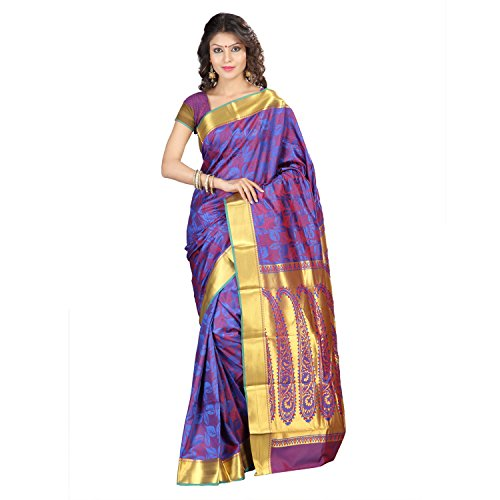 Varkala Silk Sarees with Blouse Piece  (JP8103RBRD_Blue & Red_Free Size)