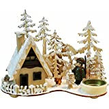 """Räucherhaus Räucherhäuschen """"Förster"""" mit Teelichthalter ca. 23 * 13 * 17 cm, aus Holz, Weihnachten Advent Geschenk (93392)"""