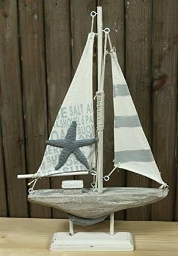 K 30,5 x 19cm für die maritime Deko Holz Segelboot im Antik-Look ca