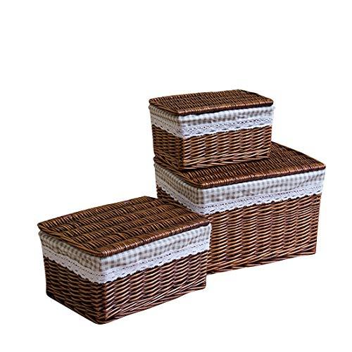 Cvthfyky Ablagekorb Korb Aufbewahrungsbox Rattan Schmutzige Kleidung Ablagekorb Spielzeug Kleidung Büro Bücher Ablagekorb (Farbe : Kaffee, Size : XXL) - Wicker Regal Korb