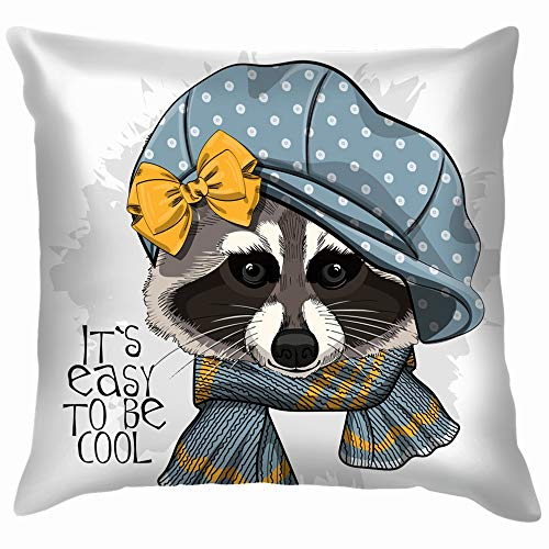 Raccoon Blue Cap Yellow Bow Animals Wildlife Animal Beauty Fashion Throw Pillow Case Cushion Cover Pillowcase Watercolor for Couch 18X18 Inch