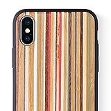 iCASEIT Holz Schutzhülle für Apple iPhone XS/X Ultra Slim Echtem Holz Hülle Hart Back Case Cover TPU Bumper Etui für Apple iPhone XS/X (5.8 Zoll) Handyschale - Rainbow