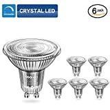 COOWOO MR16 GU10 LED Dimmable Warm White Bulbs, GU10 Base 50W Equivalent Halogen Replacement 3000K Warm White 5W AC 220-240V Spotlight with 450 Lumen, 40°Beam Angle, Pack of 6 Units