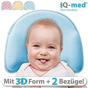 Babykissen Premium von iQ-med | mit 2 Bezügen | gegen Plattkopf und Verformung (Blau)