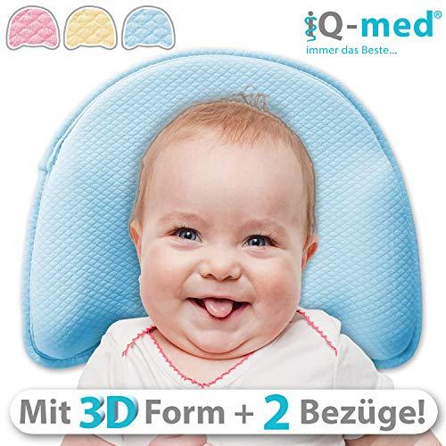 Babykissen Premium von iQ-med | mit 2 Bezügen | gegen Plattkopf und Verformung (Gelb)