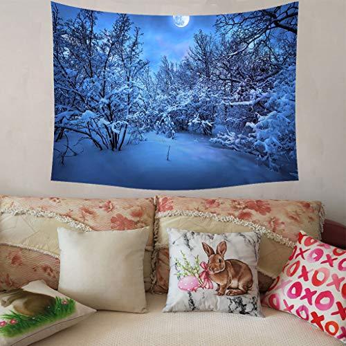Higlles Weihnachten Wandteppich 150x200 cm Wanddekoration Schneeszene Wandbehang Tapisserie Hippie Psychedelic Wandtuch Dekoration Wandteppiche(9 Arten)