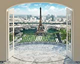 Walltastic Eiffelturm von Paris, Tapete, Wandbild, Paper, bunt, 12 x 7 x 52.5 cm