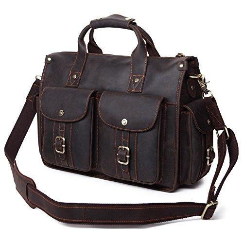 EverVanz Vintage Aktentasche aus echtem Büffel-Leder, für 15 Zoll Laptop, Handgemacht Leder Tasche Messenger Schultertasche Handtasche