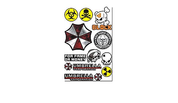 Umbrella Corporation Resident Evil Biohazard Totenkopf Aufkleber Set 4 Stück Küche Haushalt