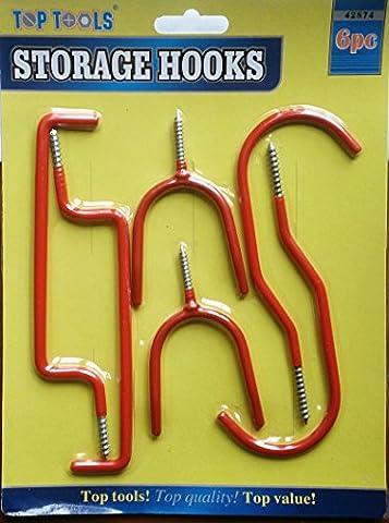 12Crochets de rangement pour outils/Lot de 2paquets de 6