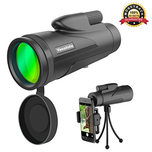 Yasolote Monocular Telescopio 12X50 HD con Prisma BAK4 Catalejo Impermeable para Teléfono Móvil Diseño de Prismatico de un Solo Visor para Partido de Fútbol, Pájaros, Turismo, Caza y Navegación