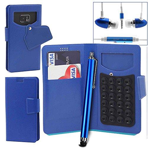 Téléphone portable ventouse Portefeuille + Stylet + Mains Libres par Gadget Giant®, Cuir synthétique, violet, XL bleu