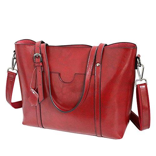 3312ef7740969 Klighten Damen Umhängetasche Ledertasche -Vintage Echtes Leder Messenger Bag  Tote Schultertasche Handtasche Große Kapazität