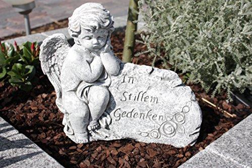 Grabschmuck Engel am Fels mit Inschrift, massiver Steinguss, frostfest