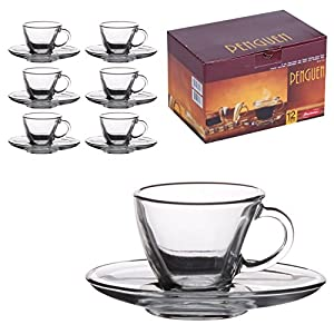 6 Matching Glass Espresso Coffee Cup & Saucers (12pc Set)