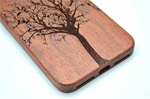 Holzsammlung® iPhone 7 Holzhülle - Rosenholz und PC - NatürlicheHandgemachteBambus / Holz Schutzhülle für Ihr Smartphone Palisander-Weihnachtsbaum