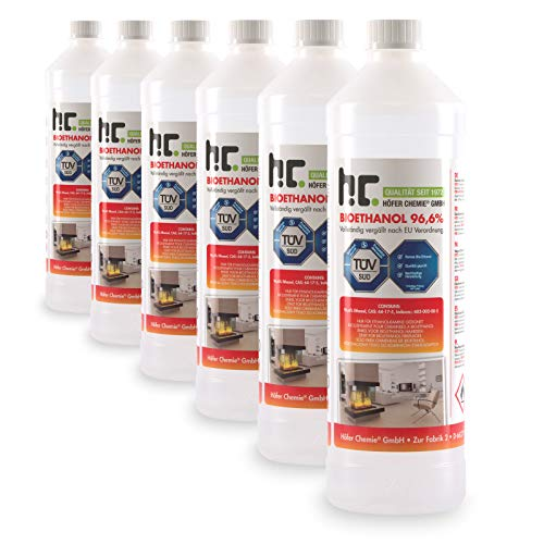 Höfer Chemie 6 x 1 L Bioethanol 96,6{431b8e2cb23a3c7e4643147342697cce1a52226166b2b068db0bd5afe3200cd5} Premium - TÜV SÜD zertifizierte QUALITÄT - für Ethanol Kamin, Ethanol Feuerstelle, Ethanol Tischfeuer und Bioethanol Kamin