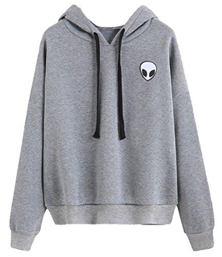 Bettydom Leisure Plain Hoodies with Alien Sport Long Sleeve Sweatshirts Jumpers for Teenage Girls S-XL(Small,Grey)