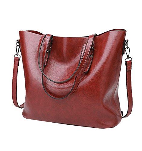 Borse Da Donna Yy.f Borse In Pelle Di Cera Di Petrolio Borsa Donna Retrò Big Bag Messaggero Della Spalla Borsa Retrò 3 Colori Red
