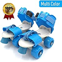 Caddle&toes Basics Adjustable Roller Skates 4 Wheel Skating Shoes for Kids Age Group 5-12 Years (Multicolour)