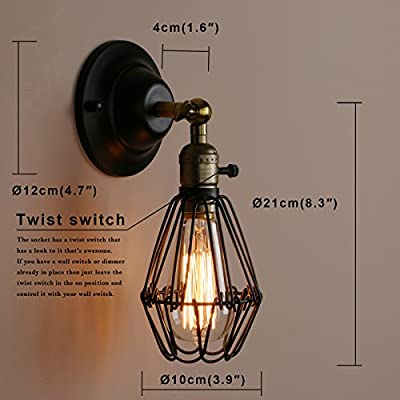 Pathson Industrial Vintage Bird Cage Metal Lampshade Wall Lights Loft Bar Kitchen Sconce Wall Light Fixture for Island Living Room Dining Room Bedroom ?Black? from Pathson