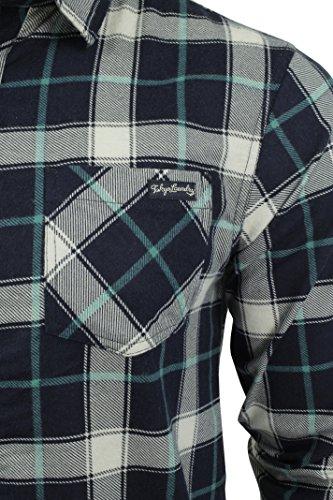 Chemise en flanelle à carreaux à manches longues par Tokyo Laundry pour homme Porcelaine Vert