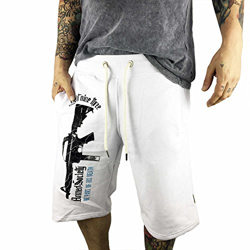 Yakuza Original Herren Armed Society Sweat Shorts Weiß
