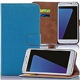 Numerva Samsung Galaxy S6 Hülle, Schutzhülle [Bookstyle Handytasche Standfunktion, Kartenfach] PU Leder Tasche für Samsung Galaxy S6 Wallet Case [Hellblau]