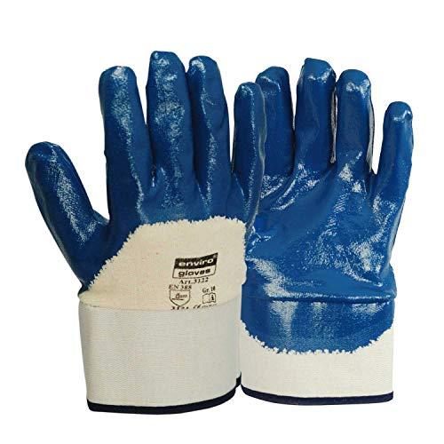 ENVIRO GLOVE - 12 Paar blauer Nitril-Handschuh - sehr flexible Arbeitshandschuhe - Öl- und Fett abweisend - Schutzhandschuhe nach Norm 388 - Größe 10 -