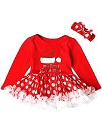 """OverDose Kleinkind Neugeborenes Baby Mädchen Party Prinzessin """"My first Christmas"""" Weihnachtsmann Tutu Kleid + Stirnband Weihnachten Outfits Set"""