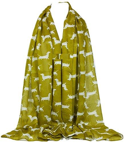 GFM® Dackel Hunde Print Schal–Große Größe–Schal für alle Jahreszeiten–Kleine Mini Sausage Dog–Soft Gr. Large, Olive Green (DG-01-JTN) Große Herren Schals