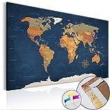 Weltkarte Pinnwand 120x80 cm Leinwand | Bilder Leinwandbilder - Fertig aufgespannt auf dicker 10mm Holzfasertafel! Aufhängfertig! Auch als Korktafel nutzbar! XXL Format - PWC0034a1XL