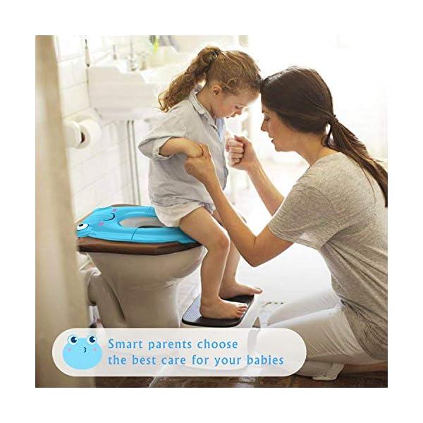 Tapa plegable wc niños, Besfair Asiento de inodoro, Reductor wc niños, Orinal portátil bebés, con 4 Alfombras Antideslizantes y 2 Soportes Inferiores, ideal como entrenamiento para ir al baño. Verde