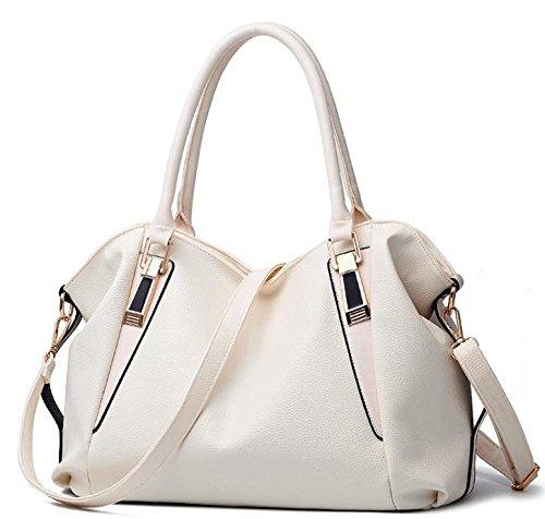 Hippolo Damen Schultertasche Elfenbein Gebrochenes Handtasche PU Leder Handtaschen Weiß
