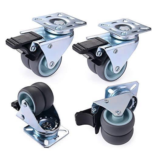 Herenear Lot de 4 Roulettes Pivotantes Ultra-résistantes avec Frein d'arrêt pour Meubles Capacité 600 kg