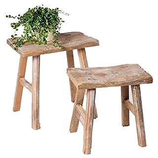 SIDCO Hocker Rustikal 2 Stück Sitzhocker Beistelltisch Blumenbank Holz Schemel Vintage