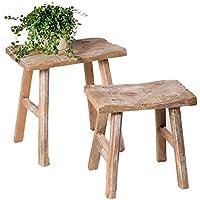 SIDCO ® 2er Set Holzhocker Rustikal Hocker Blumenbank Beistellrich Holz Schemel Vintage