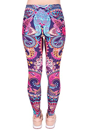 Kukubird Printed Patterns Women's Yoga Leggings Gym Fitness Running Pilates Tights Skinny Pants 8 to 12 Stretchable - Mandala Flower Pink - Lady Pink Flower
