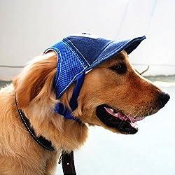 YUMSUM Gorra de béisbol para perros Gorra deportiva de visera Sun con orificios para perros medianos(G azul, M)