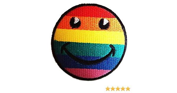 Ø7 cm Smiley Regenbogen Aufnäher // Bügelbild Patches Aufbügeln bunt
