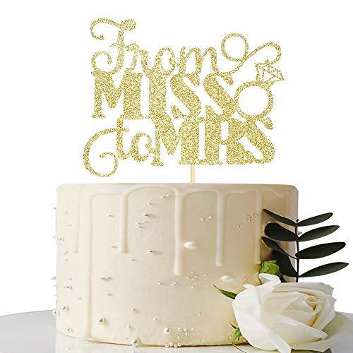 Gold Glitzer von Miss bis Frau Cake Topper, Bridal Dusche Tortendekoration uns/Bride to be Kuchen Dekoration (Dusche Cake Topper Bridal)