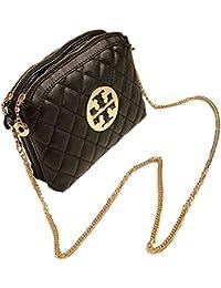 Aimerfeel-femmes doux petit sac en faux cuir noir avec poignée chaîne en or