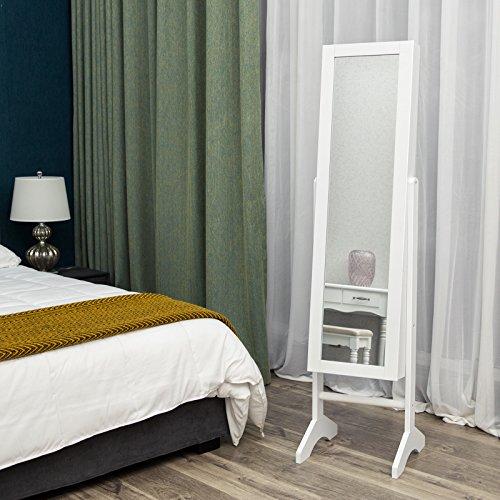 Songmics JBC77W Schmuckschrank und Standspiegel zwei in einem, weiß, 35,5 x 153 x 35 cm - 2
