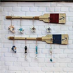 SU@DA remos de madera de estilo mediterráneo 90CM la decoración del hogar Ventana Cafe Bar , 90cm blue