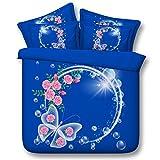 3D Copripiumino, Set di biancheria da letto, fiore Doppio Federa, Regalo di natale, 4 pz , 005 , 200*230cm