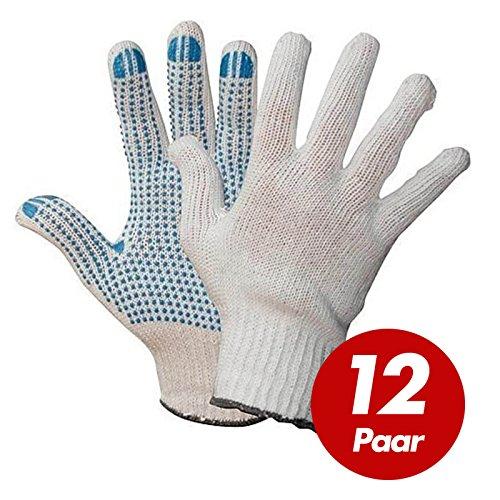 Polyester Strickhandschuhe KORL mit PVC Noppen Arbeitshandschuhe Handschuhe Noppenhandschuhe VPE 12 Paar, Größe:7 ()