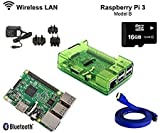Raspberry Pi 3 1GB RAM 1.2GHz 64-bit quad-core 16GB CLASS 10 Kodi OpenELEC Media Center Kit Dernières (Bleu) (Green)