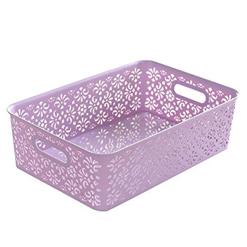 OUNONA stapelbar Kunststoff Aufbewahrungsbox Hollow Out Aufbewahrungskorb mit Deckel für Bras Unterwäsche Socken Krawatten Schals und jedes Zubehör-große Größe (lila)