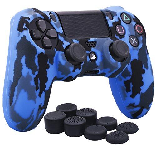 YoRHa Transferencia de agua camuflaje de impresión silicona caso piel Fundas protectores cubierta para Sony PS4/slim/Pro Mando x 1 (azul) Con PRO los puños pulgar thumb gripsx 8