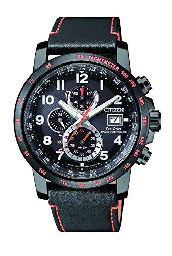 Citizen Herren Chronograph Quarz Uhr mit Leder Armband AT8125-05E